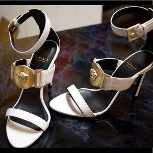 White Versace Medallion Signature Sandals